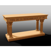 #8500 Series Ornate Open Communion Table, Two Tone Colonial White, Light Oak Stain