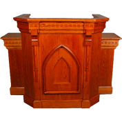 "# 900 With Wing Pulpit, 60""W, 54""H, With Step, Medium Oak Stain"