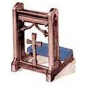 # 200 Prayer Desk, Without Cross, Light Oak Stain, Cobalt Kneeler Cushion