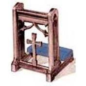 # 200 Prayer Desk, Without Cross, Medium Oak Stain, Maroon Kneeler Cushion
