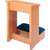# 377 Prayer Desk, Medium Oak Stain, Red Rose Kneeler Cushion