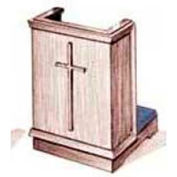 # 400 Prayer Desk, Without Cross, Medium Oak Stain, Red Rose Kneeler Cushion