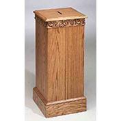 "# 50 Tithe Box, 32""H, Medium Oak Stain"