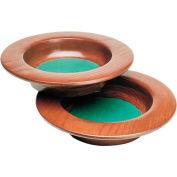 "Wood Collection Plate, 11"" Diameter, Medium Oak Stain, Maroon Fabric"