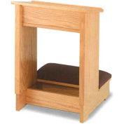 "Double Prayer Desk, 48""W, Medium Oak Stain, Aloe Fabric"