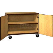 "Mobile Wood Cabinet, 1 Shelf, Solid Door, 48""W x 22-1/4""D x 36""H, Natural Oak/Brown"