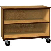 """Mobile Wood Cabinet, 1 Shelf, Open Front, 48""""W x 22-1/4""""D x 36""""H, Oiled Cherry/Black"""