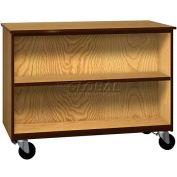 "Mobile Wood Double-Faced Cabinet, 1 Shelf, Open Front, 48""W x 22-1/4""D x 36""H, Maple/Black"