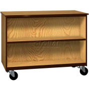 "Mobile Wood Double-Faced Cabinet, 1 Shelf, Open Front, 48""W x 22-1/4""D x 36""H, Natural Oak/Brown"