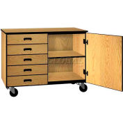 Mobile Wood Cabinet, Five Drawers, 1 Shelf, Solid Doors, 48 x 22-1/4 x 36,Maple/Black