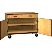 """Mobile Wood Cabinet, 1 Drawer 1 Shelf, Solid Door, 48""""W x 22-1/4""""D x 36""""H,Oiled Cherry/Black"""