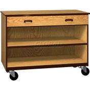 "Mobile Wood Cabinet, 1 Drawer 1 Shelf, Open Front, 48""W x 22-1/4""D x 36""H, Dixie Oak/Brown"