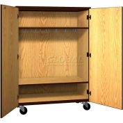 "Mobile Wood Wardrobe Cabinet w/Locks, Solid Door, 48""W x 22-1/4""D x 66""H, Maple/Black"