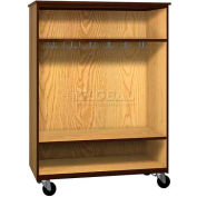 "Mobile Wood Wardrobe Cabinet, Open Front, 48""W x 22-1/4""D x 66""H, Natural Oak/Brown"