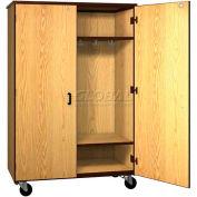 "Mobile Wood Wardrobe Cabinet w/Locks, Solid Door, 48""W x 22-1/4""D x 72""H, Oiled Cherry/Black"
