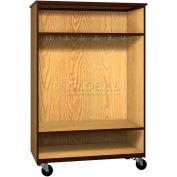 "Mobile Wood Wardrobe Cabinet, Open Front, 48""W x 22-1/4""D x 72""H, Dixie Oak/Brown"