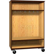 "Mobile Wood Wardrobe Cabinet, Open Front, 48""W x 22-1/4""D x 72""H, Natural Oak/Brown"