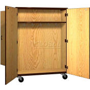 """Mobile Wood Double-Faced Combo Cabinet, Solid Door, 48""""W x 28-1/4""""D x 66""""H, Oiled Cherry/Black"""
