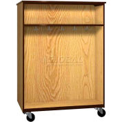 """Mobile Wood Double-Faced Combo Cabinet, Open Front, 48""""W x 28-1/4""""D x 66""""H, Natural Oak/Brown"""