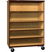 "Mobile Wood General Storage Cabinet, Open Front, 48""W x 22-1/4""D x 66""H, Dixie Oak/Brown"