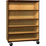 "Mobile Wood General Storage Cabinet, Open Front, 48""W x 22-1/4""D x 66""H, Oiled Cherry/Black"