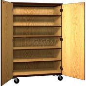 "Mobile Wood General Storage Cabinet, w/Locks, Solid Door, 48""W x 22-1/4""D x 72""H, Dixie Oak/Brown"