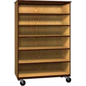 "Mobile Wood General Storage Cabinet, Open Front, 48""W x 22-1/4""D x 72""H, Natural Oak/Brown"