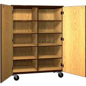 Mobile Wood Cubicle Cabinet, 8 Shelves w/Locks, Solid Door, 48 x 22-1/4 x 66, Natural Oak/Brown