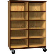 Mobile Wood Cubicle Cabinet, 8 Shelves, Open Front, 48 x 22-1/4 x 66, Natural Oak/Brown