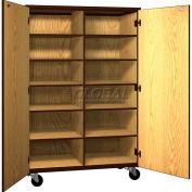 Mobile Wood Cubicle Cabinet, 10 Shelves w/Locks, Solid Door, 48 x 22-1/4 x 72, Natural Oak/Brown