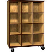 Mobile Wood Cubicle Cabinet, 9 Shelves, Open Front, 48 x 22-1/4 x 66, Natural Oak/Brown