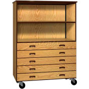 Mobile Wood Combo Cabinet, 5 Drawers, 1 Shelf, Open Front, 48 x 22-1/4 x 66, Dixie Oak/Brown