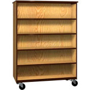 "Mobile Wood Double-Faced Bookcase, Open Front, 48""W x 22-1/4""D x 66""H, Dixie Oak/Brown"