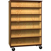 """Mobile Wood Double-Faced Bookcase, Open Front, 48""""W x 22-1/4""""D x 72""""H, Oiled Cherry/Black"""