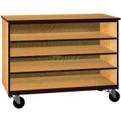 """Tote Tray Mobile Wood Cabinet, Open Front, 48""""W x 22-1/4""""D x 36""""H, Maple/Black"""