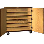 """Tote Tray Mobile Wood Cabinet, Solid Door, 48""""W x 22-1/4""""D x 48""""H, Natural Oak/Brown"""