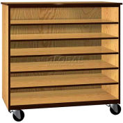 """Tote Tray Mobile Wood Cabinet, Open Front, 48""""W x 22-1/4""""D x 48""""H, Natural Oak/Brown"""