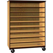 """Tote Tray Mobile Wood Cabinet, Open Front, 48""""W x 22-1/4""""D x 66""""H, Maple/Black"""