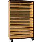 """Tote Tray Mobile Wood Cabinet, Open Front, 48""""W x 22-1/4""""D x 78""""H, Natural Oak/Brown"""