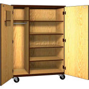 "Mobile Wood Teacher Cabinet, 4 Shelves, 48""W x 22-1/4""D x 66""H, Oiled Cherry/Black"