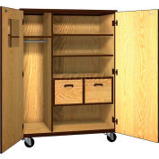 "Mobile Wood Teacher Cabinet, 2 Shelves, 2 File Drawers, 48""W x 22-1/4""D x 66""H, Natural Oak/Brown"