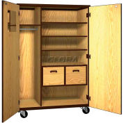 "Mobile Wood Teacher Cabinet, 3 Shelves, 2 File Drawers, 48""W x 22-1/4""D x 72""H, Maple/Black"