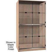 Ironwood 2 Compartment Wardrobe Cabinet, Black Grill Door, Natural Oak Color