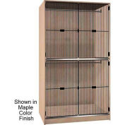 Ironwood 2 Compartments Wardrobe Cabinet, Black Grill Door, Oiled Cherry Color