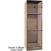 Ironwood 1/3 Upper, 2/3 Lower Compartment Black Grill Door Locker, Natural Oak