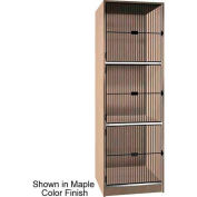 "Ironwood 3 Compartment Black Grill Door Storage 30"" D Locker, Maple Color"