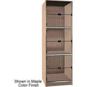 """Ironwood 3 Compartment Black Grill Door Storage 30"""" D Locker, Natural Oak Color"""