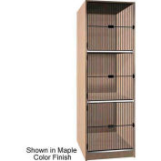 Ironwood 3 Compartment Black Grill Door Storage Locker, Natural Oak Color