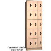 "Ironwood 15 Compartment Solid Door Storage 20"" D Locker, Natural Oak Color"