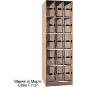 Ironwood 15 Compartment Black Grill Door Storage Locker, Natural Oak Color